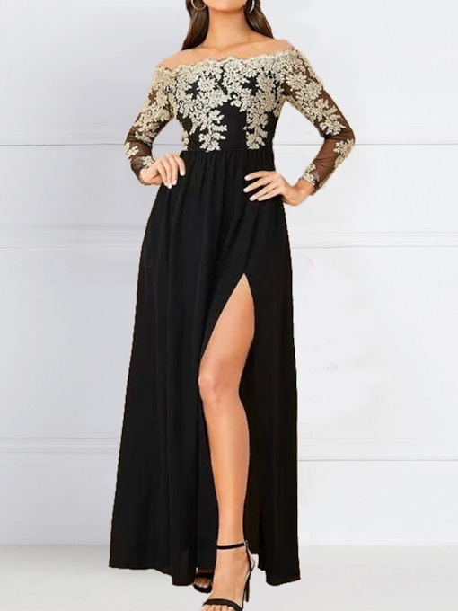 Long Sleeve Embroidery Floor-Length Off Shoulder Fall Women's Dress