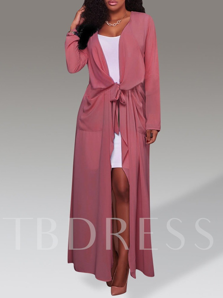 Solid Mother Like With Belt Women's Trench Coat