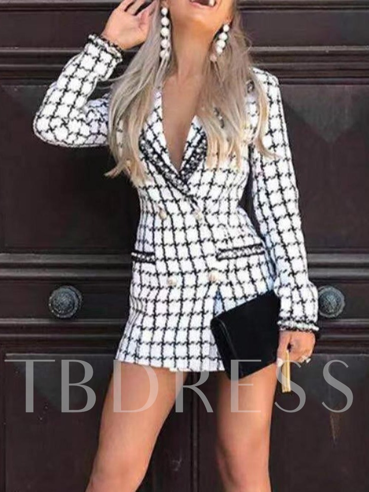 Ladylike Plaid Notched Lapel Mid-Length Women's Casual Blazer