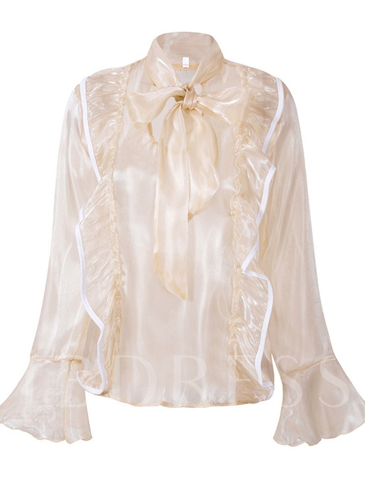 Ladylike Sweet Lace Up Women's Blouse