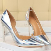 Pointed Toe Slip-On Metallic Pumps