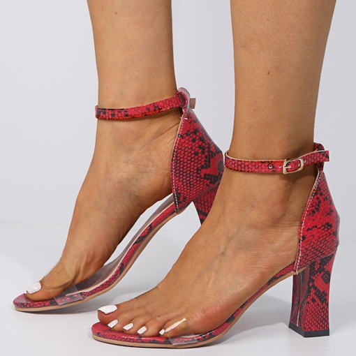Heel Covering Buckle Open Toe Chunky Heel Serpentine Sandals