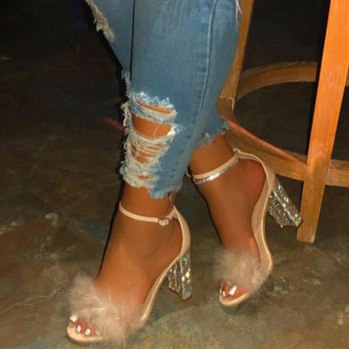 Line-Style Buckle Heel Covering Open Toe Sexy Sandals