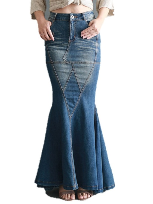 Floor-Length Mermaid Zipper Western Women's Skirt