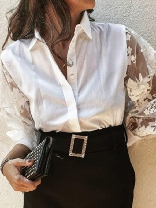 Patchwork Ladylike Lapel Plain Women's Blouse