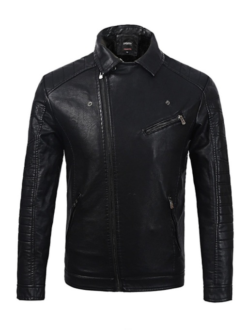 Lapel Plain Slim Men's Leather Jacket