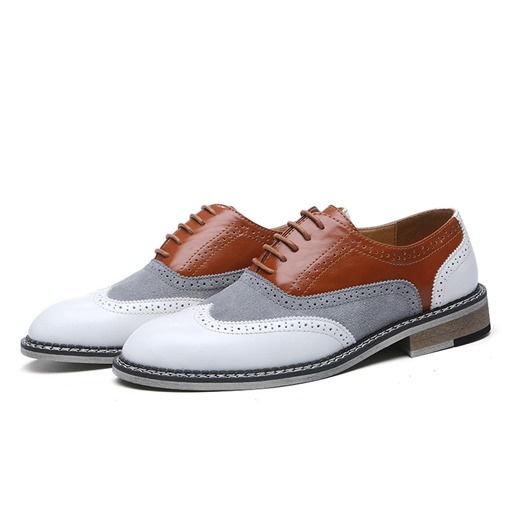 Low-Cut Upper Color Block Round Toe Men's Business Shoes