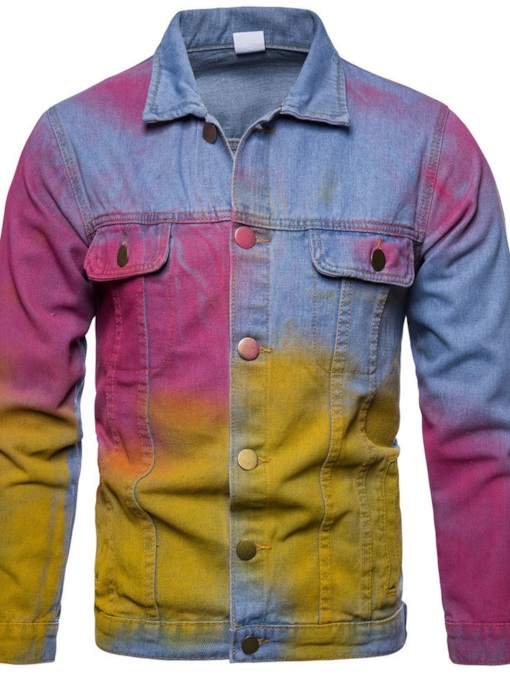 Color Block Tie-Dye Lapel Casual Men's Jacket