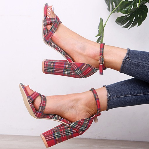 Chunky Heel Open Toe Heel Covering Buckle Plaid Sandals