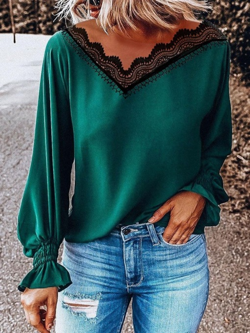 Patchwork Lace V-neck Long Sleeve Women's Blouse