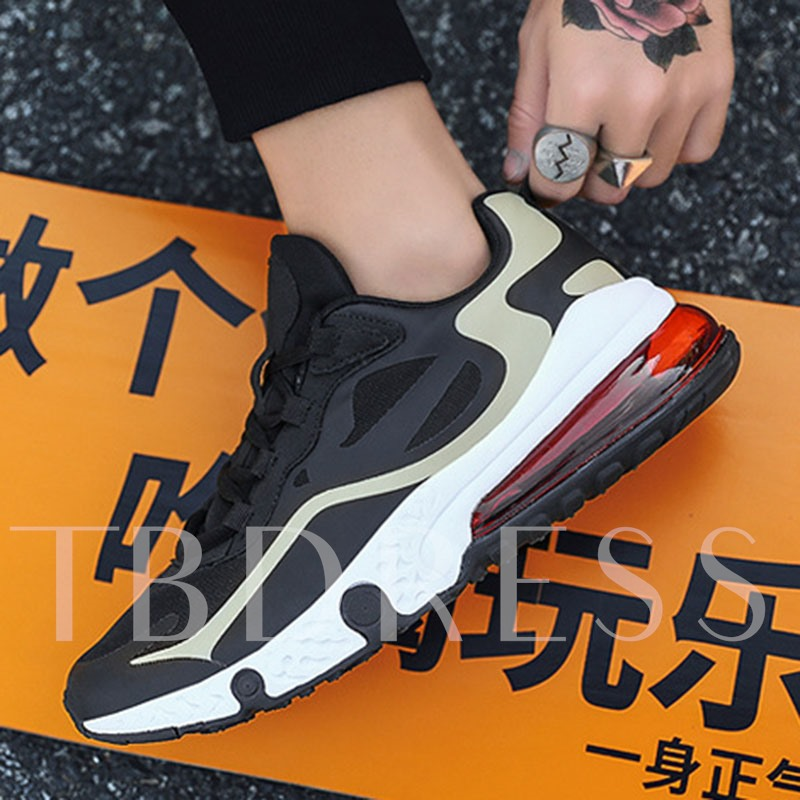 Platform Lace-Up Round Toe Mesh Men's Sneakers