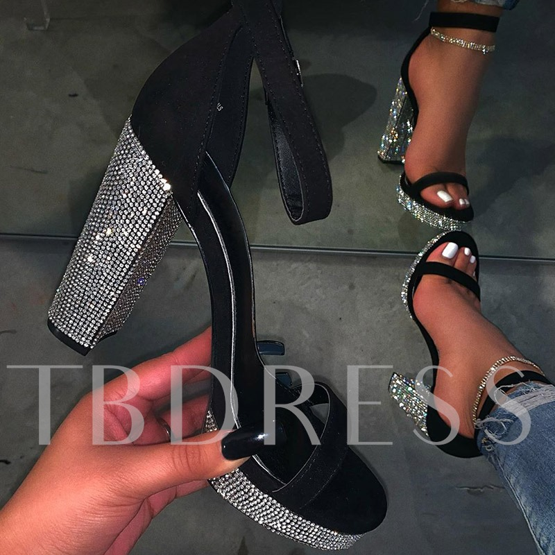 Buckle Heel Covering Open Toe Sexy Rhinestone Sandals