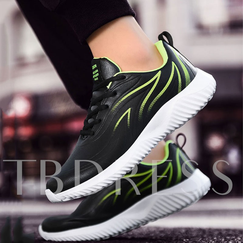 Lace-Up Platform Sports Round Toe PU Men's Sneakers
