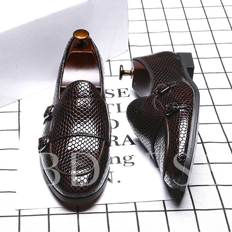 Low-Cut Upper Round Toe Men's Leather Shoes