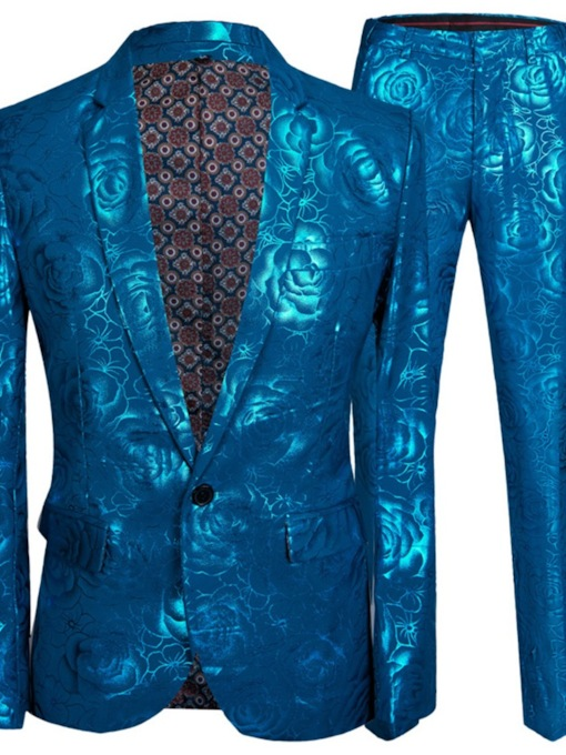 Blazer Fashion Print One Button Men's Dress Suit