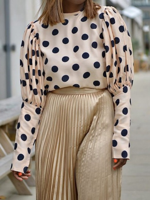 Polka Dots Round Neck Long Sleeve Women's Blouse