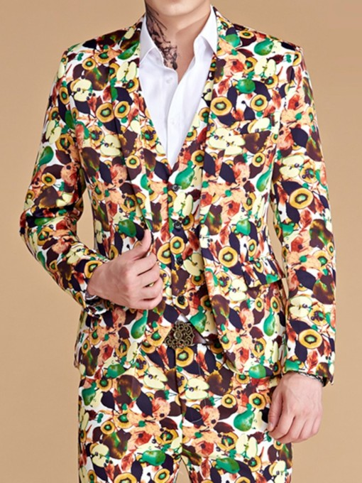 Print Blazer Fashion One Button Men's Dress Suit