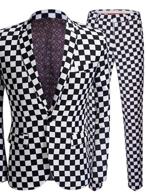 One Button Plaid Casual Print Men's Dress Suit