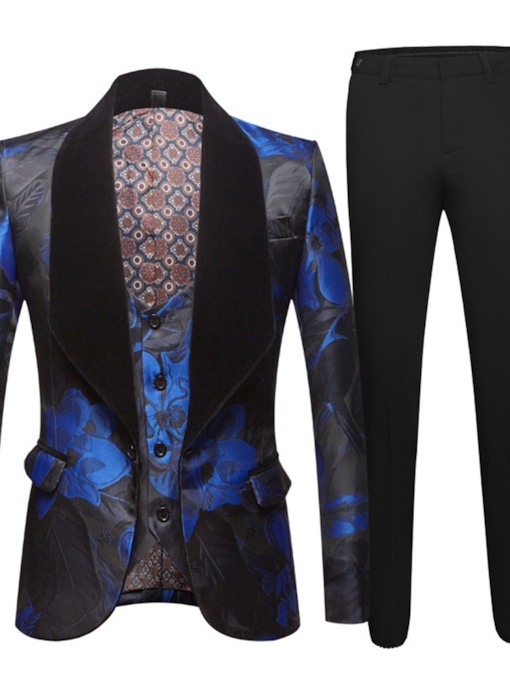 One Button Floral Fashion Vest Men's Dress Suit