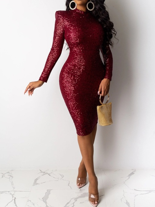 Stand Collar Sequins Long Sleeve Mid-Calf Mid Waist Women's Dress