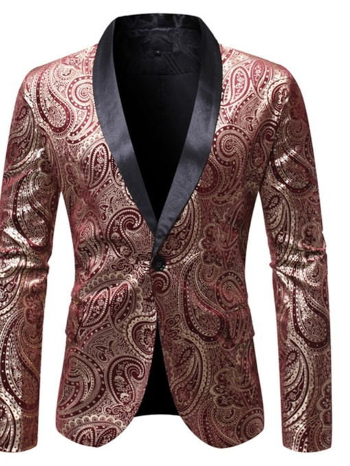 Print One Button Geometric Slim Men's leisure Suit