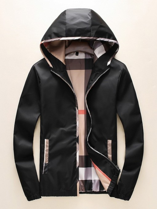 Color Block Hooded Casual Men's Jacket