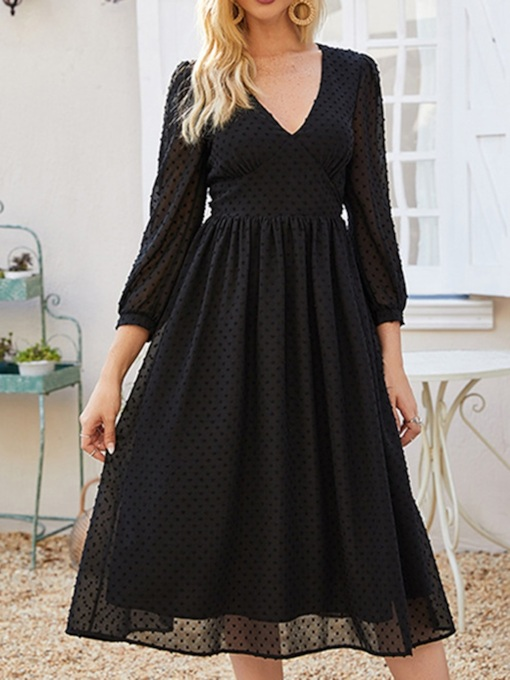 Mid-Calf V-Neck Three-Quarter Sleeve Women's Dress