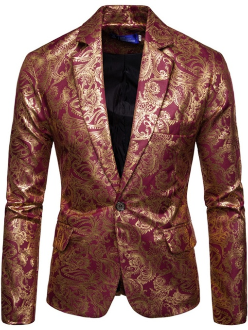 Floral Fashion Print One Button Men's leisure Suit