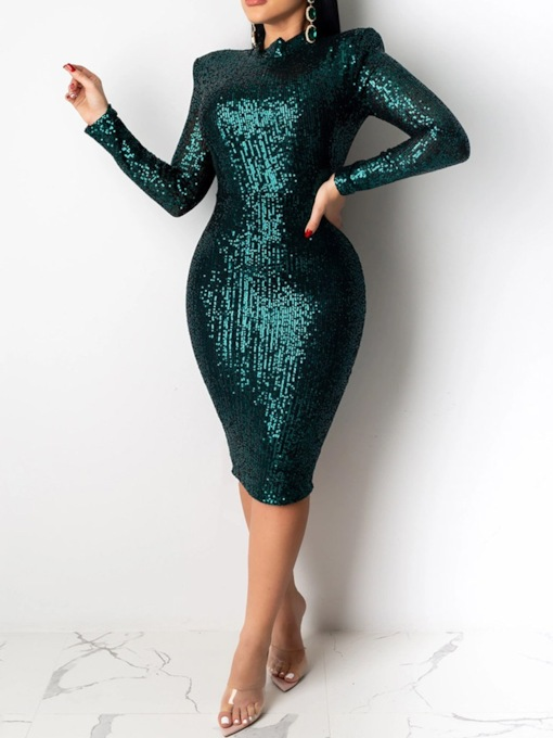 Sequins Long Sleeve Mid-Calf Stand Collar Women's Dress