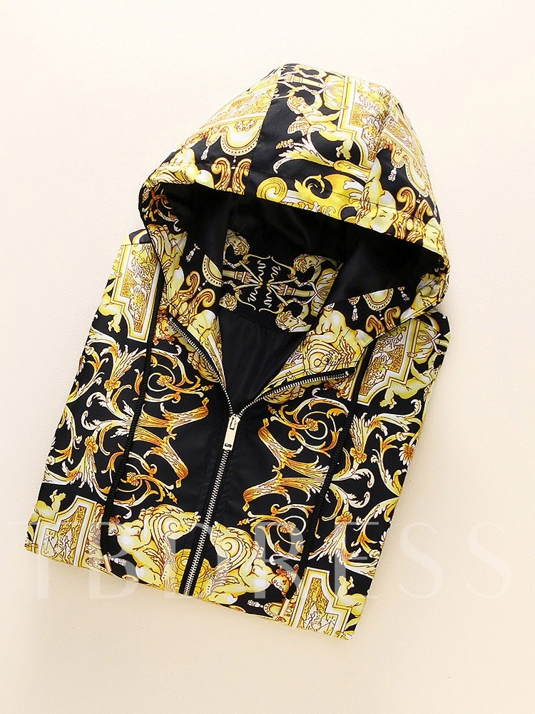 Hooded Thick Print Zipper Men's Jacket