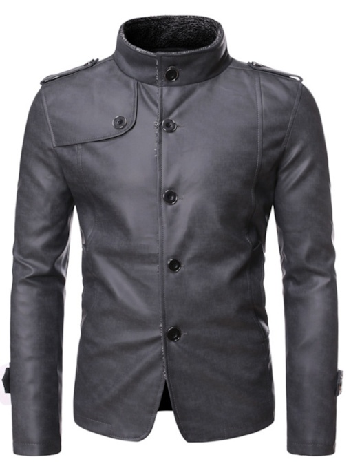 Plain Stand Collar Standard Slim Men's Leather Jacket