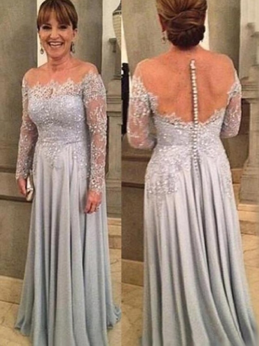 Floor-Length Long Sleeves Appliques A-Line Mother of the Bride Dress 2021