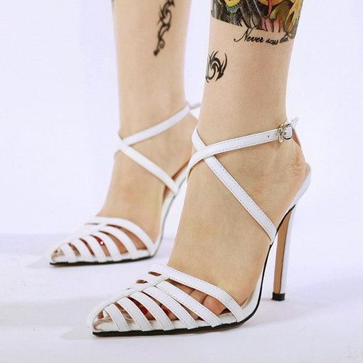 Line-Style Buckle Stiletto Heel Pointed Toe Hollow Sandals