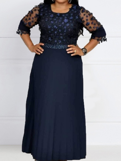 Plus Size Three-Quarter Sleeve Square Neck Floor-Length Pleated Floral Women's Dress