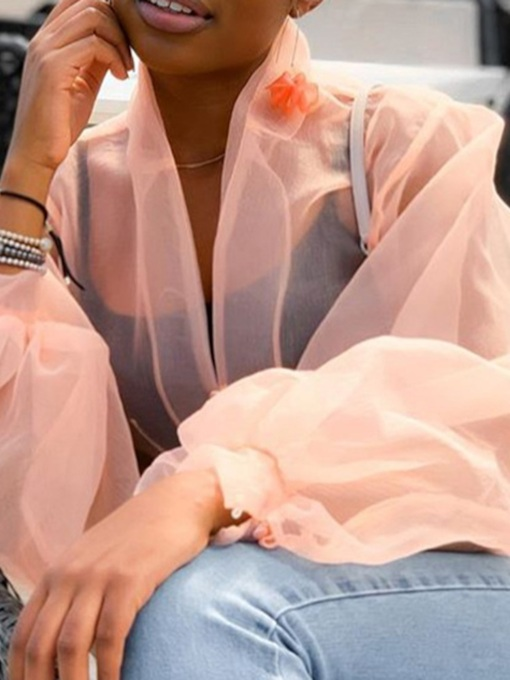 Plain See-Through Puff Sleeve Women's Blouse