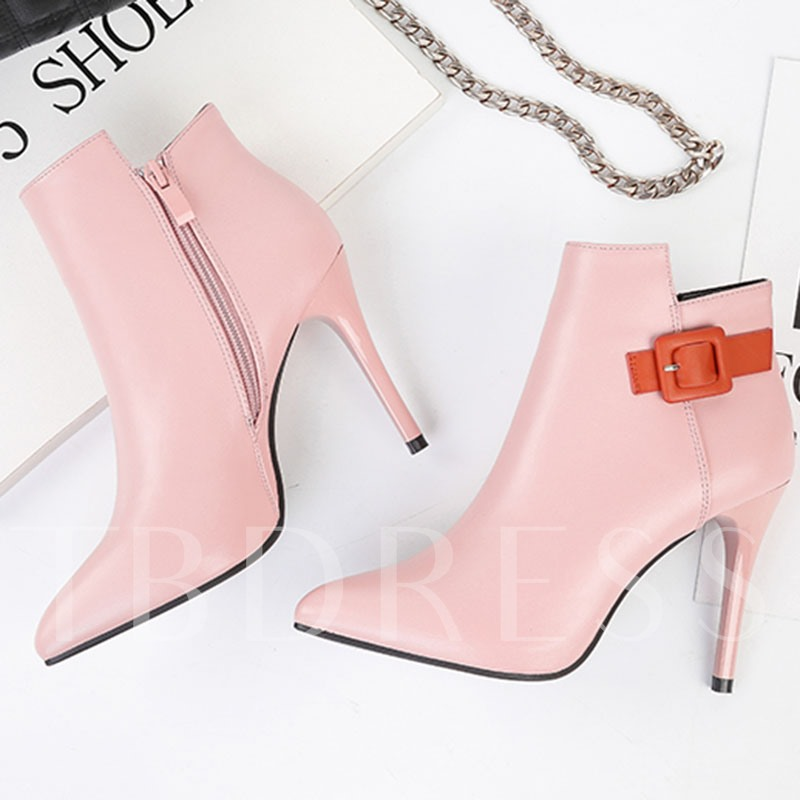 Pointed Toe Color Block Side Zipper Ankle Boots