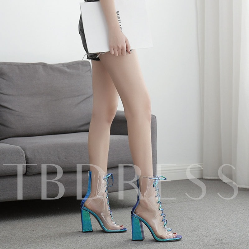 Back Zip Peep Toe Color Block Cross Strap See Through Booties