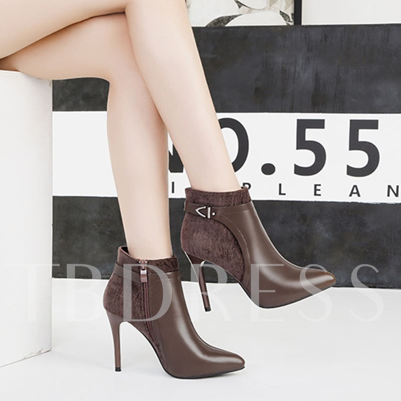 Side Zipper Pointed Toe Stiletto Heel Patchwork PU Boots