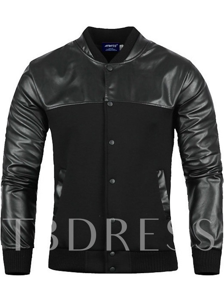 Stand Collar Standard Men's Leather Jacket