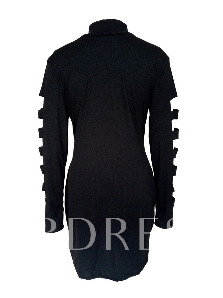 Plus Size Stand Collar Hollow Knee-Length Long Sleeve Casual Women's Dress