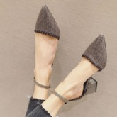 Pointed Toe Line-Style Buckle Casual Sandals