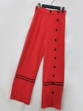 Button Loose Full Length Skinny Women's Casual Pants