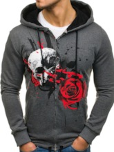Print Cardigan Regular Skull Slim Men's Hoodies