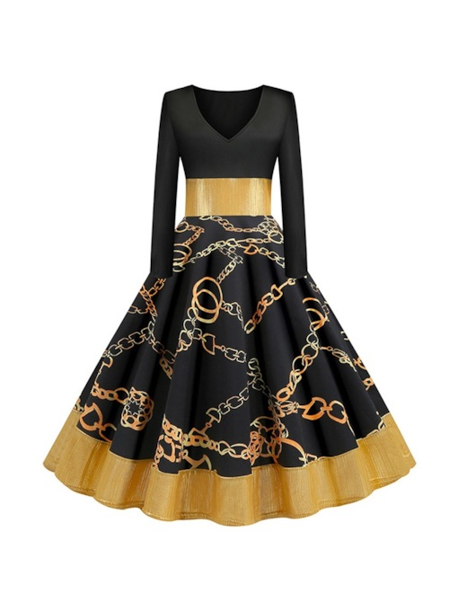 Patchwork Mid-Calf V-Neck Long Sleeve Regular Women's Dress
