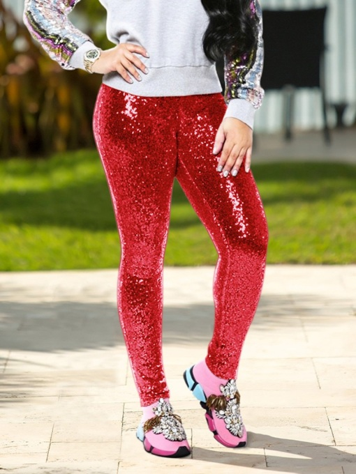 Sequins Skinny Full Length Women's Casual Pants