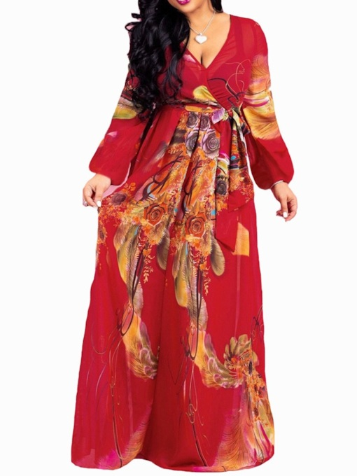 Floor-Length Long Sleeve Print V-Neck Vintage Women's Dress