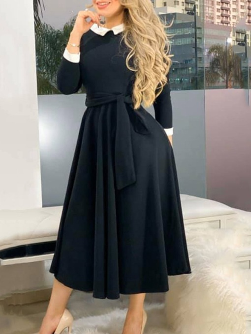 Collar Mid-Calf Three-Quarter Sleeve Lace-Up Pullover Women's Dress