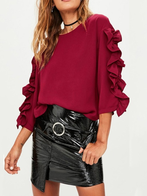 Round Neck Plain Ladylike Women's Blouse