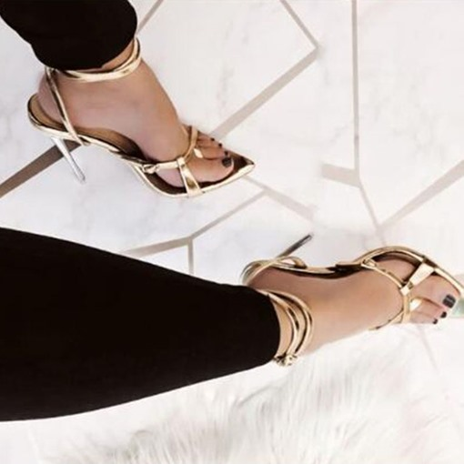 Toe Ring Line-Style Buckle Snake Skin Sandals
