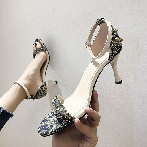 Line-Style Buckle Heel Covering Open Toe Casual Sandals